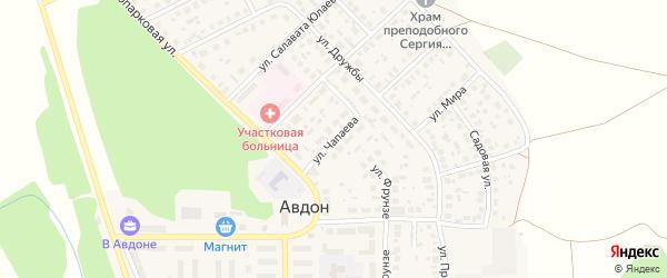 Улица Чапаева на карте села Авдон с номерами домов