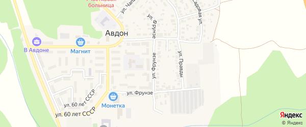 Улица Фрунзе на карте села Авдон с номерами домов