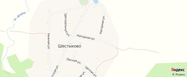 Нагорная улица на карте села Шестыково с номерами домов