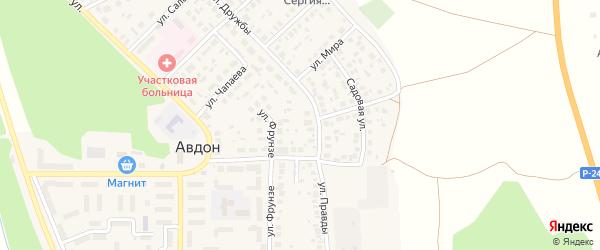 Советская улица на карте села Авдон с номерами домов