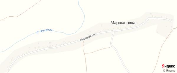Низовая улица на карте деревни Маршановки с номерами домов