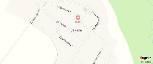 Дорожная улица на карте деревни Бакалы с номерами домов