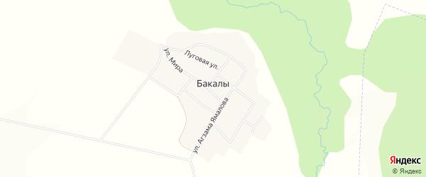 Карта деревни Бакалы в Башкортостане с улицами и номерами домов