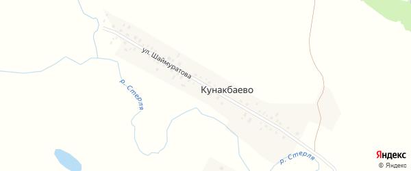 Улица Шаймуратова на карте деревни Кунакбаево с номерами домов