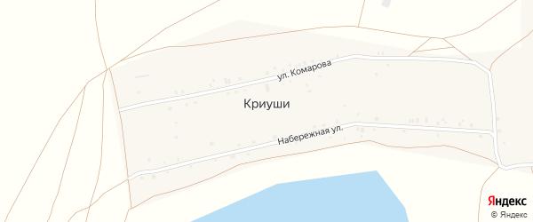 Набережная улица на карте села Криуш с номерами домов