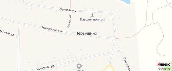 Весенняя улица на карте села Первушино с номерами домов
