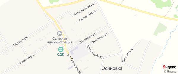 Школьная улица на карте села Осиновки с номерами домов