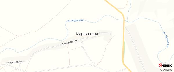 Карта деревни Маршановки в Башкортостане с улицами и номерами домов