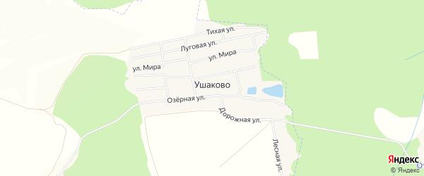 Карта деревни Ушаково в Башкортостане с улицами и номерами домов