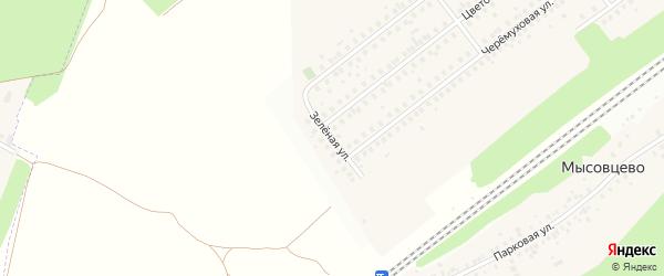Зеленая улица на карте села Жуково с номерами домов