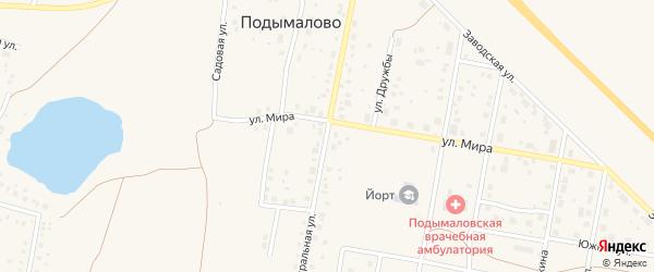 Центральная улица на карте деревни Подымалово с номерами домов