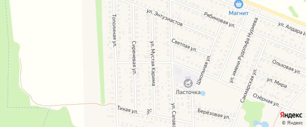 Улица Мустая Карима на карте села Жуково с номерами домов