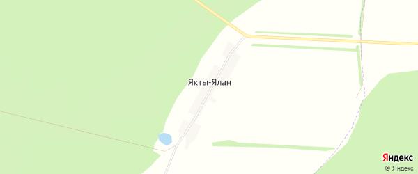 Карта деревни Яктов-Ялан в Башкортостане с улицами и номерами домов