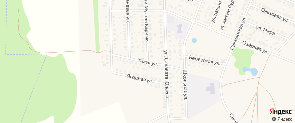 Тихая улица на карте села Жуково с номерами домов