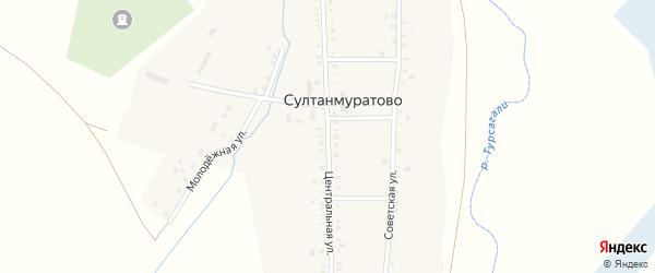 Центральная улица на карте села Султанмуратово с номерами домов