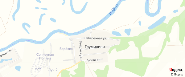 Карта деревни Глумилино в Башкортостане с улицами и номерами домов