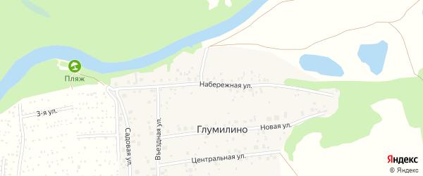 Набережная улица на карте деревни Глумилино с номерами домов