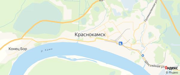 Карта Краснокамска с районами, улицами и номерами домов