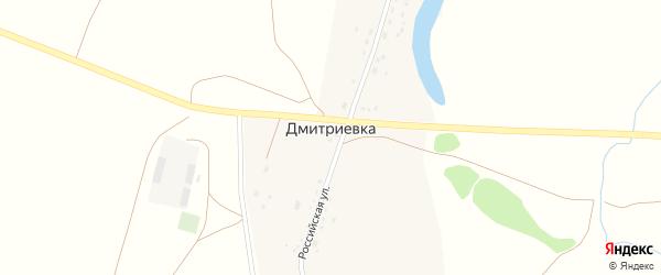 Российская улица на карте деревни Дмитриевки с номерами домов