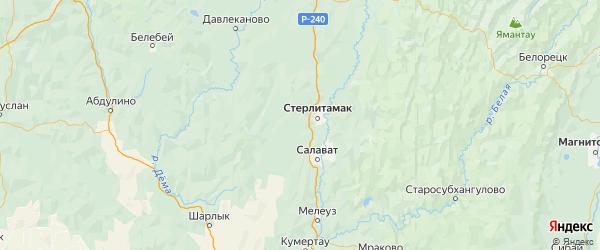 Карта Стерлитамакского района республики Башкортостан с городами и населенными пунктами