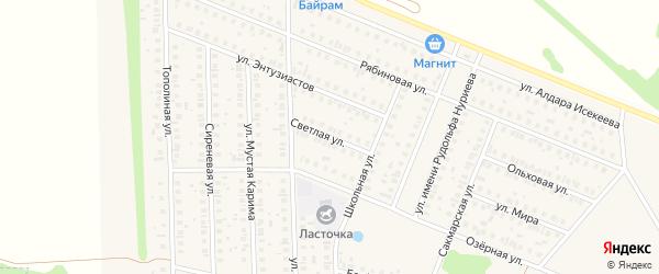Светлая улица на карте села Жуково с номерами домов