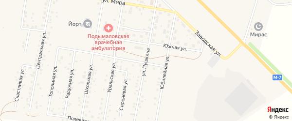 Улица Пушкина на карте деревни Подымалово с номерами домов