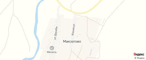 Южная улица на карте деревни Максютово с номерами домов