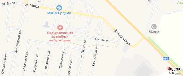 Южная улица на карте деревни Подымалово с номерами домов