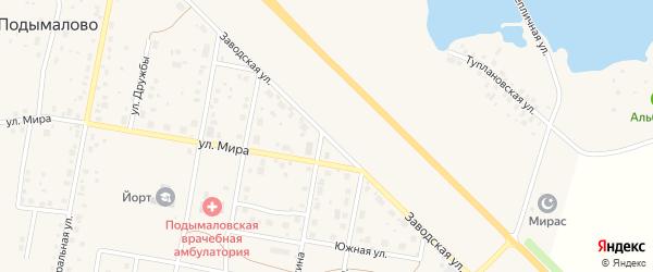 Заводская улица на карте деревни Подымалово с номерами домов