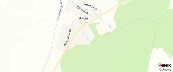 Карта деревни Амзи в Башкортостане с улицами и номерами домов