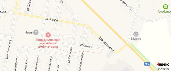 Юбилейная улица на карте деревни Подымалово с номерами домов