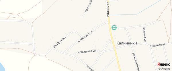 Советская улица на карте села Калинники с номерами домов