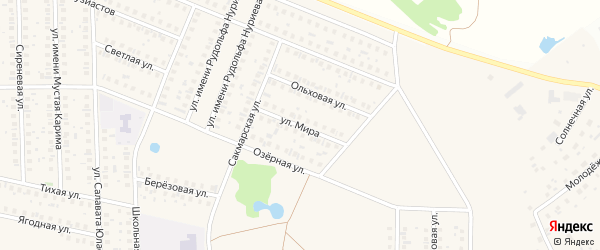 Улица Мира на карте села Жуково с номерами домов