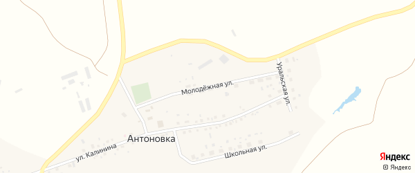 Молодежная улица на карте деревни Антоновки с номерами домов
