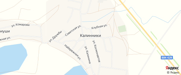 Карта села Калинники в Башкортостане с улицами и номерами домов