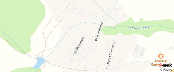 Улица Жукаревка на карте деревни Сергеевки с номерами домов