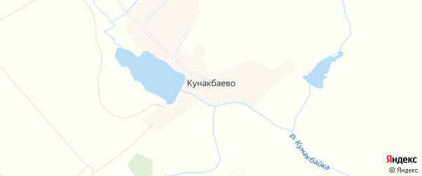 Карта деревни Кунакбаево в Башкортостане с улицами и номерами домов