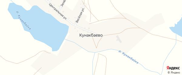 Центральная улица на карте деревни Кунакбаево с номерами домов