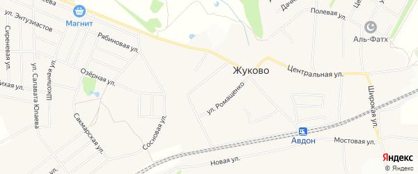 СНТ Юбилейный на карте села Жуково с номерами домов