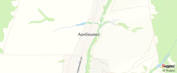 Карта села Арибашево в Башкортостане с улицами и номерами домов