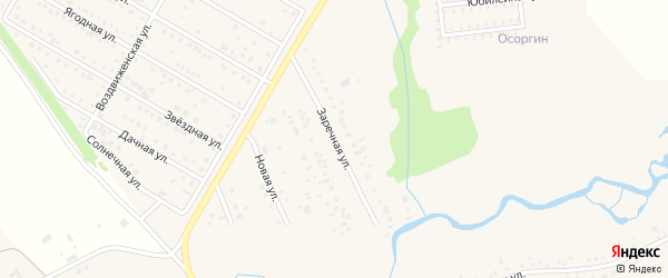 Заречная улица на карте деревни Осоргино с номерами домов