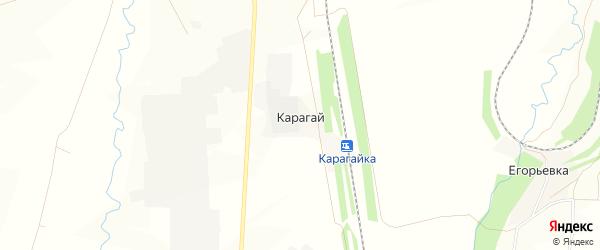 Карта деревни Карагая в Башкортостане с улицами и номерами домов