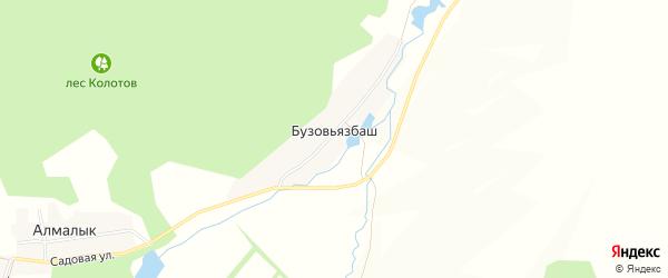Карта деревни Бузовьязбаша в Башкортостане с улицами и номерами домов