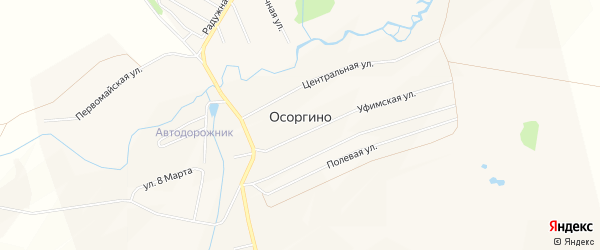 СНТ Пласт на карте деревни Осоргино с номерами домов