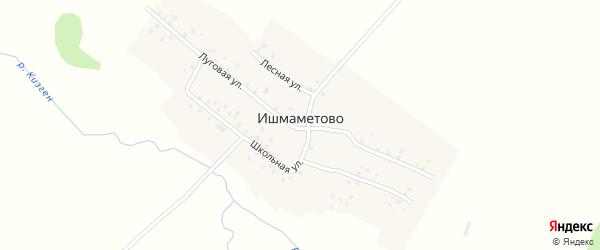 Луговая улица на карте деревни Ишмаметово с номерами домов