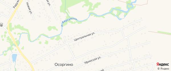 Центральная улица на карте деревни Осоргино с номерами домов