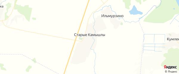 Карта Старокамышлинского сельсовета республики Башкортостан с районами, улицами и номерами домов