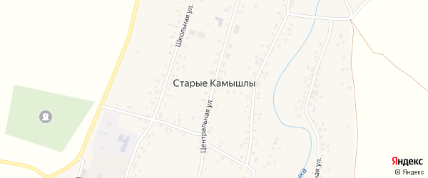 Строительная улица на карте села Старых Камышлы с номерами домов
