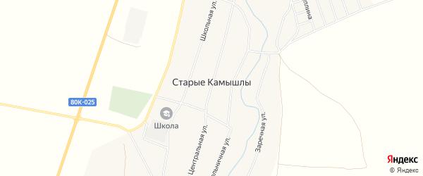 Карта села Старых Камышлы в Башкортостане с улицами и номерами домов