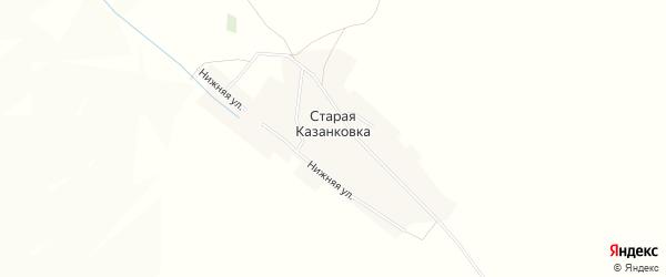 Карта деревни Старой Казанковки в Башкортостане с улицами и номерами домов